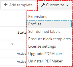 How to set profiles for PDF Maker