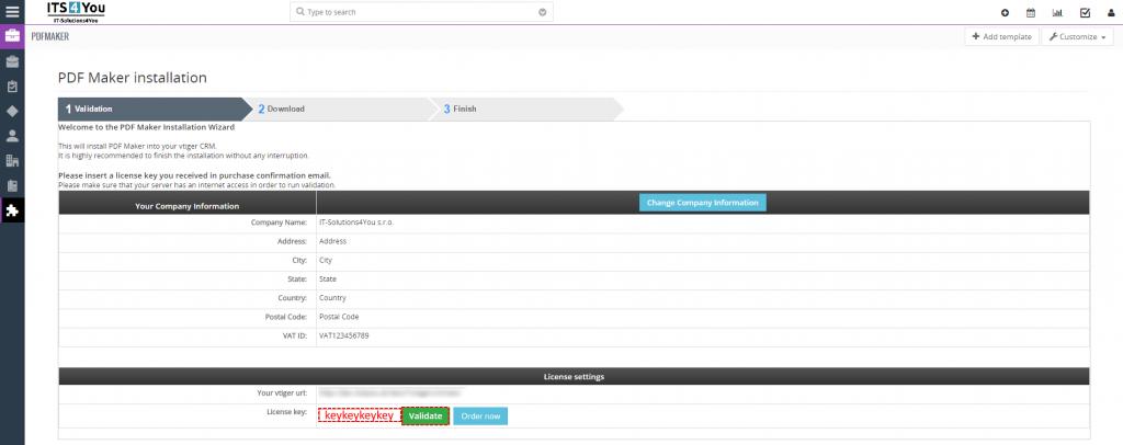Validation PDF Maker for vtiger 7