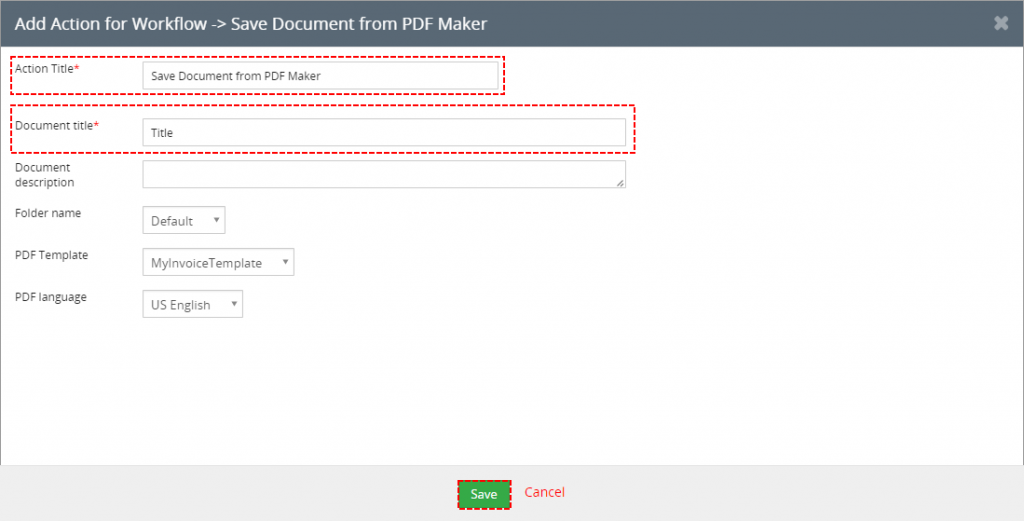 Save Document from PDF Maker for workflows