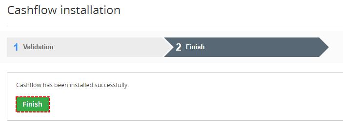 Cashflow was installed successfully