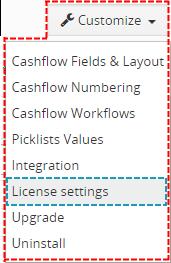 License settings of Cashflow