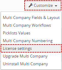 License settings of MultiCompany