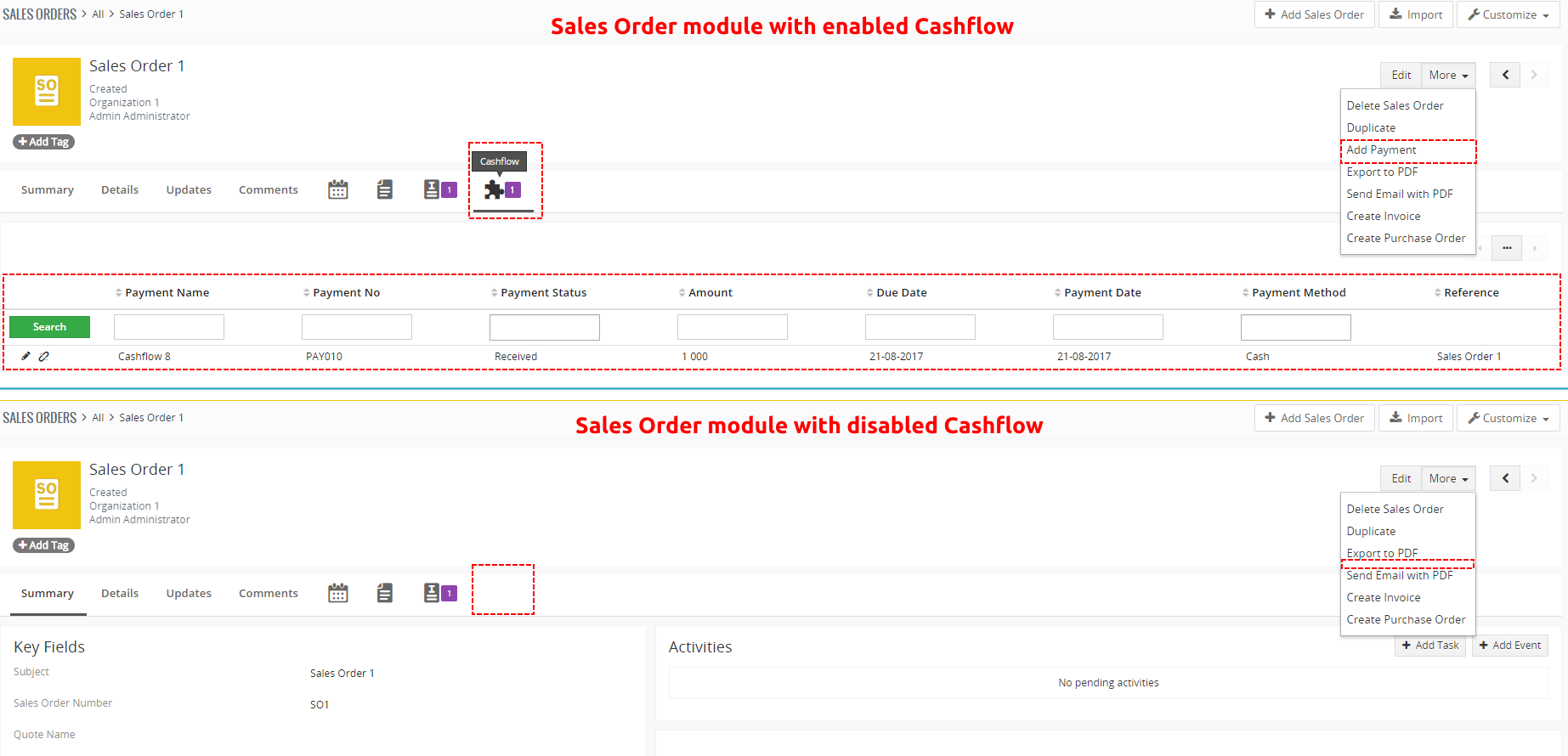 Sales Order module with/without Cashflow