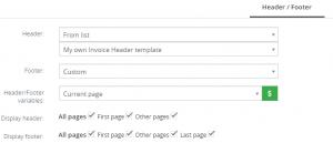 Header/Footer tab – PDF Maker Vtiger 7