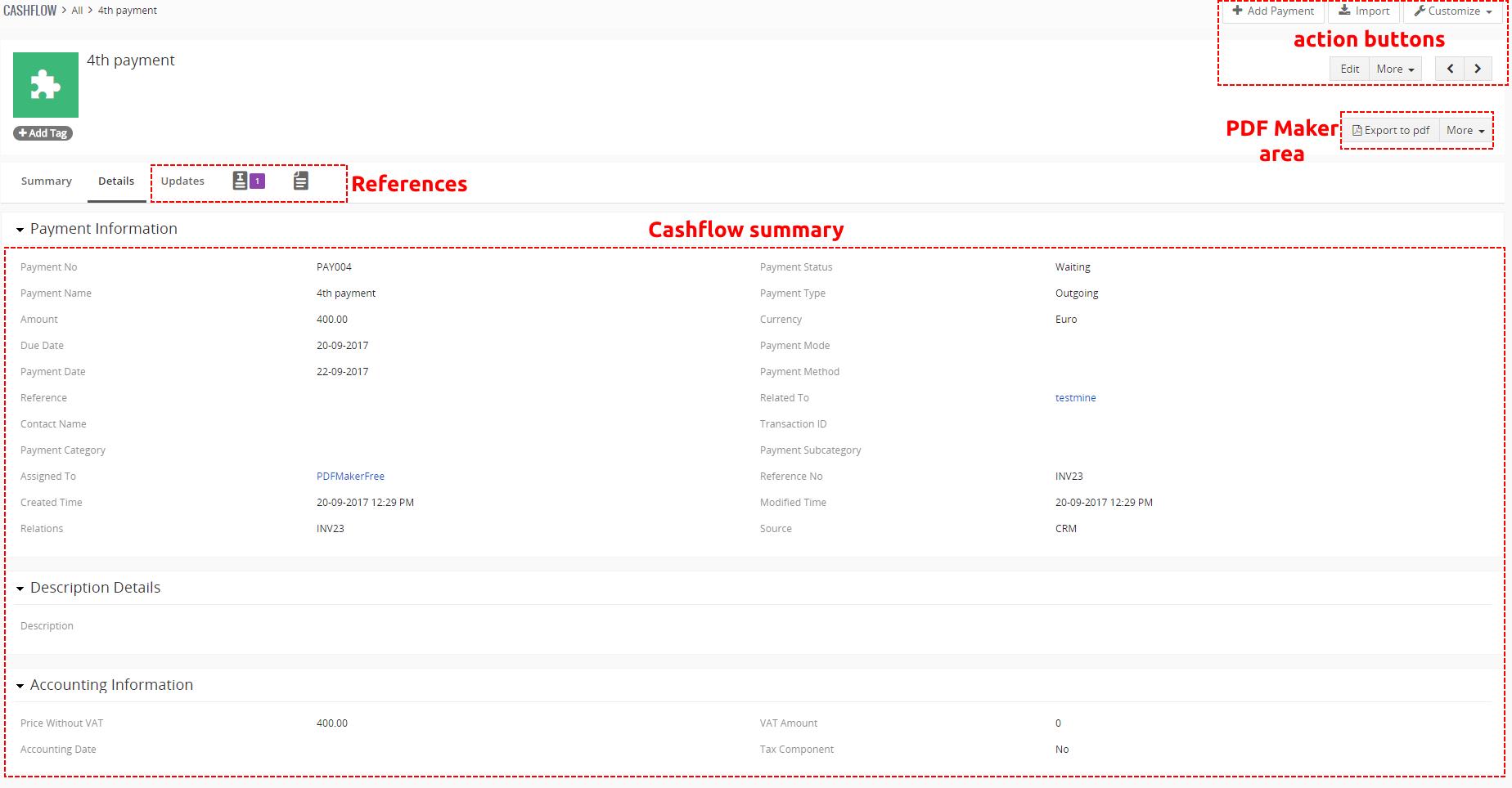 DetailView of Cashflow