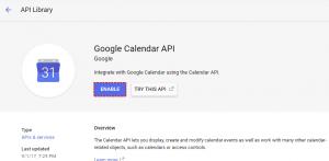 Enable API Google Project - Google Calendar Vtiger 6 Sync