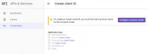 Configure consent screen Google Project - Google Calendar Vtiger 6 Sync