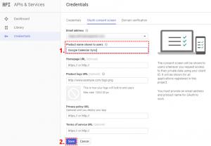 Set name of OAuth Google Project - Google Calendar Vtiger 6 Sync