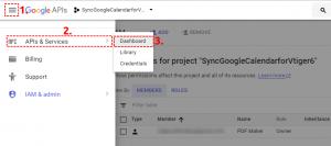 Open Dashbard of Google Project - Google Calendar Vtiger 6 Sync