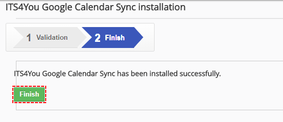 Finish validation - Google Calendar Vtiger 6 Sync