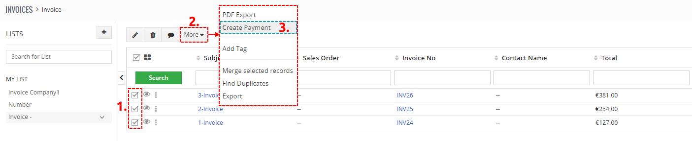 ListView of Invoice