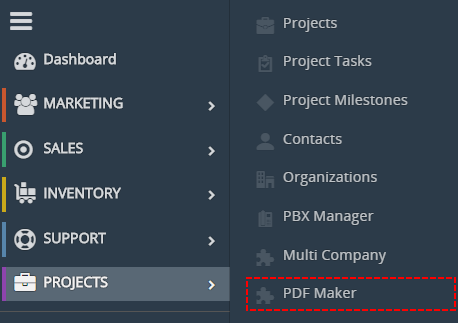 PDF Maker in vtiger 7 menu