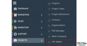 PDF Maker in vtiger 7 menu