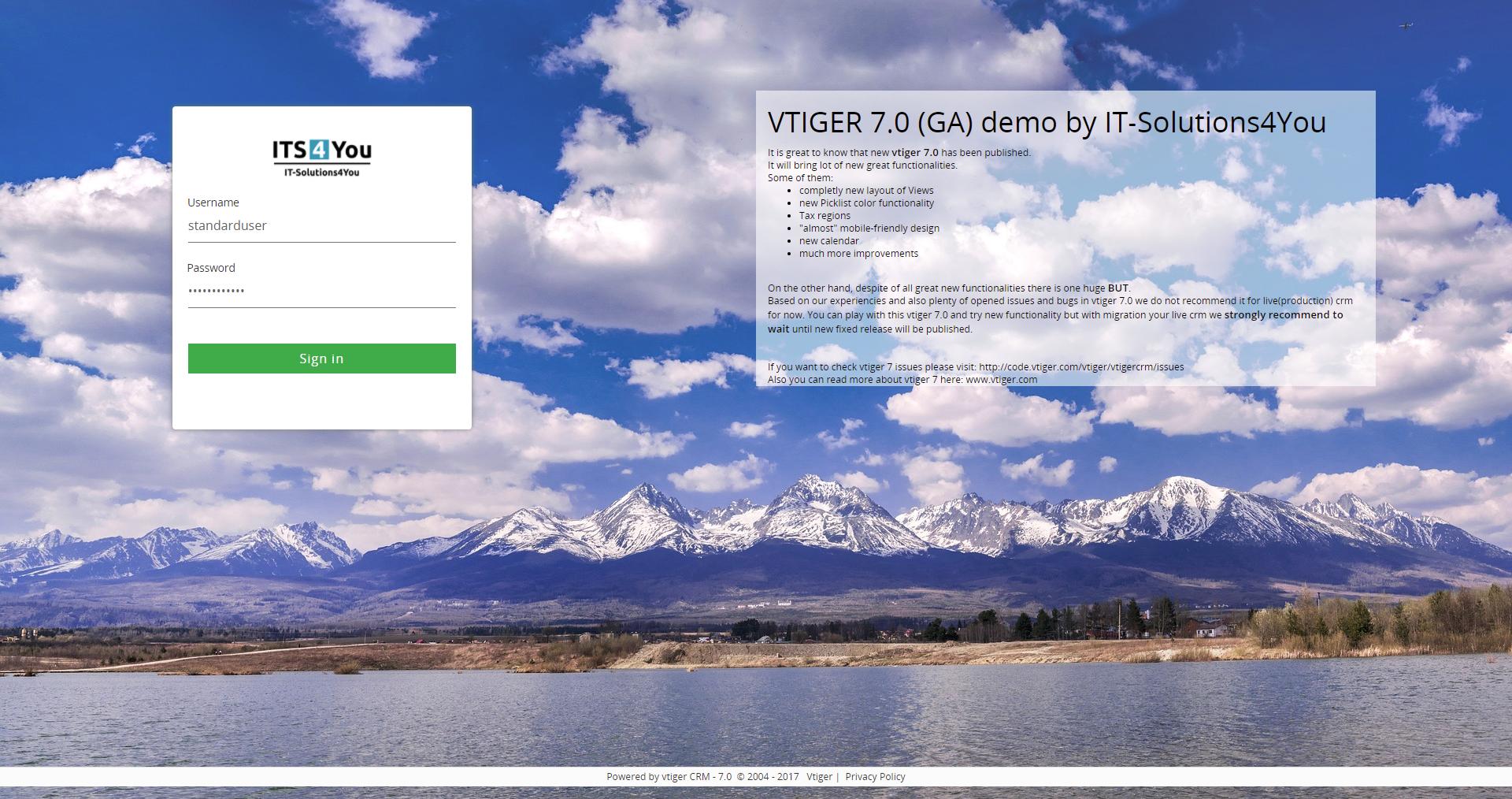 Custom vtiger login page