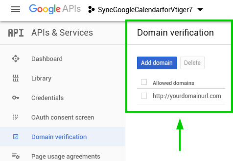 Domain verification - Google Calendar Vtiger 7 Sync