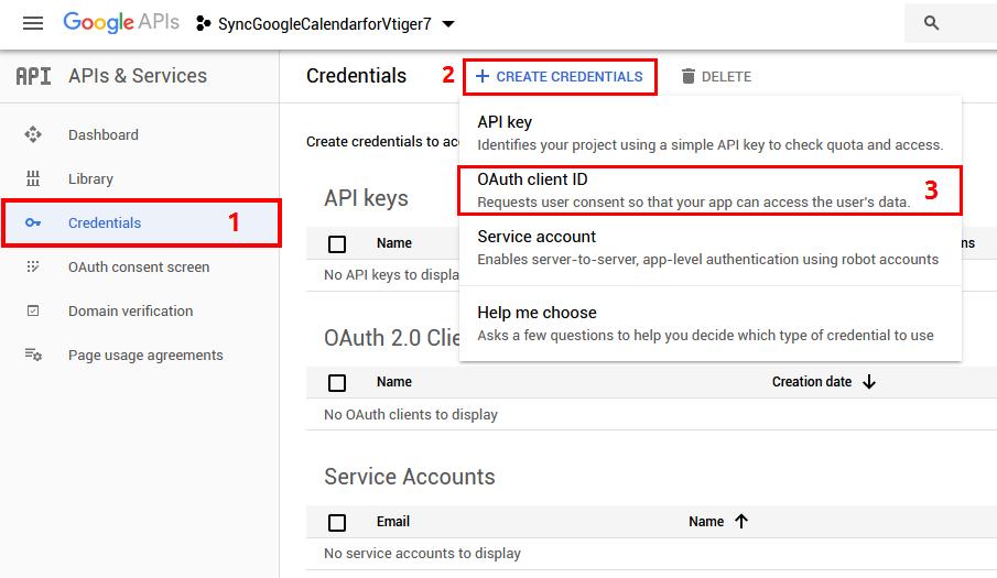 Creating OAuth client ID - Google Calendar Vtiger 7 Sync