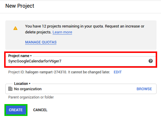 Fill Google Project Name - Google Calendar Vtiger 7 Sync
