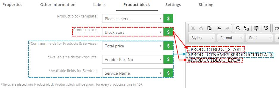 Create product block