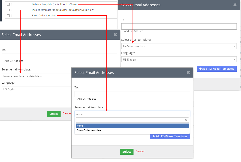 Default template visibility