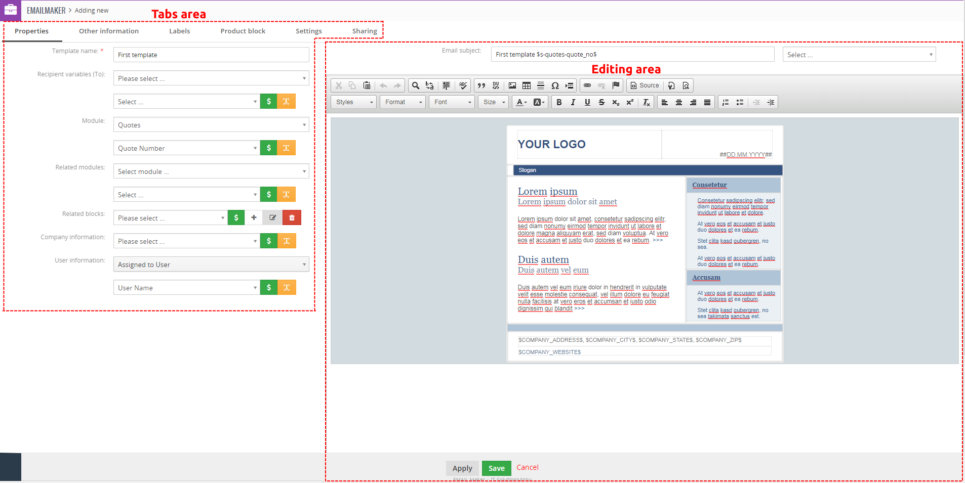 EditView of EMAIL Maker