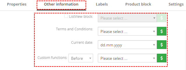Other information tab