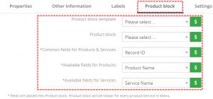 Product block tab