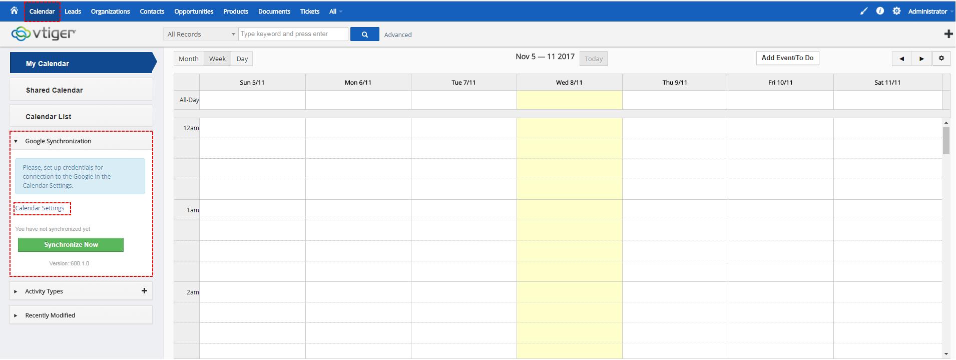 Set Google Sync - Google Calendar Vtiger 6 Sync
