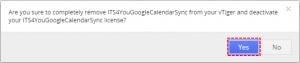Confirm Uninstall - Google Calendar Vtiger 7 Sync