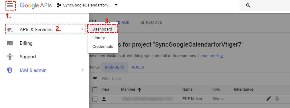 Open Dashbard of Google Project - Google Calendar Vtiger 7 Sync