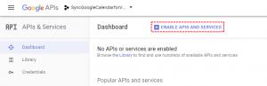 Enable APIS - Google Calendar Vtiger 7 Sync