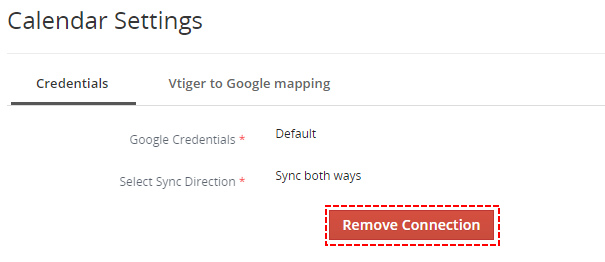 How to remove Google Connection – Google Calendar Vtiger 7 Sync
