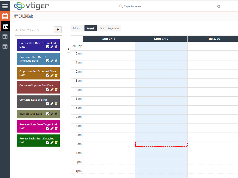Create Event within Vtiger – Google Calendar Vtiger 7 Sync