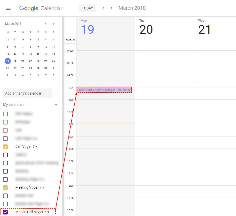 Record synchronized to Google – Google Calendar Vtiger 7 Sync