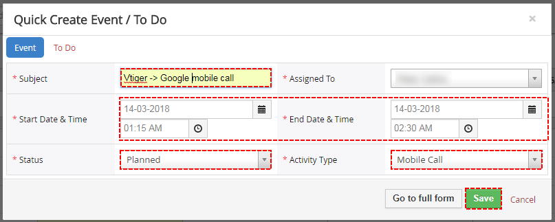 Save Event within Vtiger - Google Calendar Vtiger 6 Sync