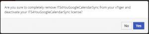 Confirm Uninstall - Google Calendar Vtiger 6 Sync