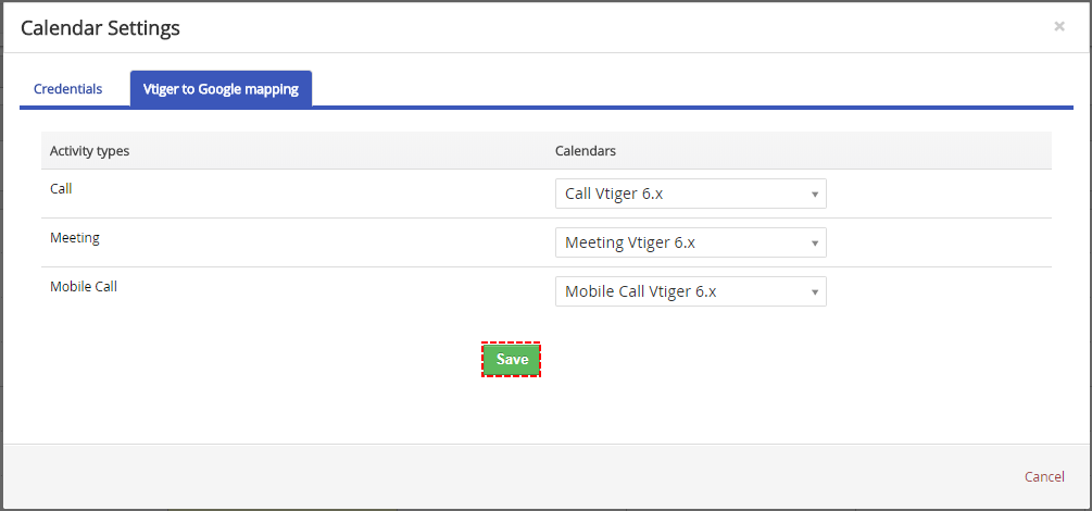 Save mapping of Activity types to Calendar - Google Calendar Vtiger 6 Sync