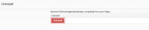 Select Uninstall - Google Calendar Vtiger 6 Sync