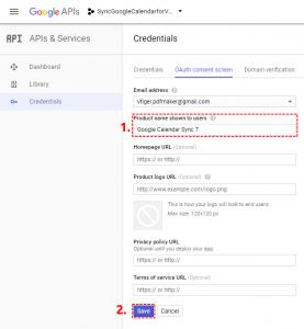 Set name of OAuth Google Project - Google Calendar Vtiger 7 Sync