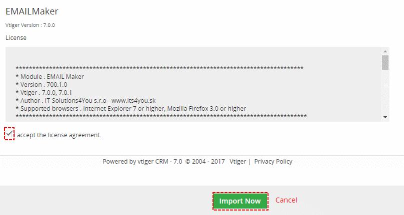 Installation of EMAIL Maker for vtiger 7 - step 3