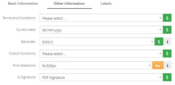 Other information tab – PDF Maker Vtiger 7