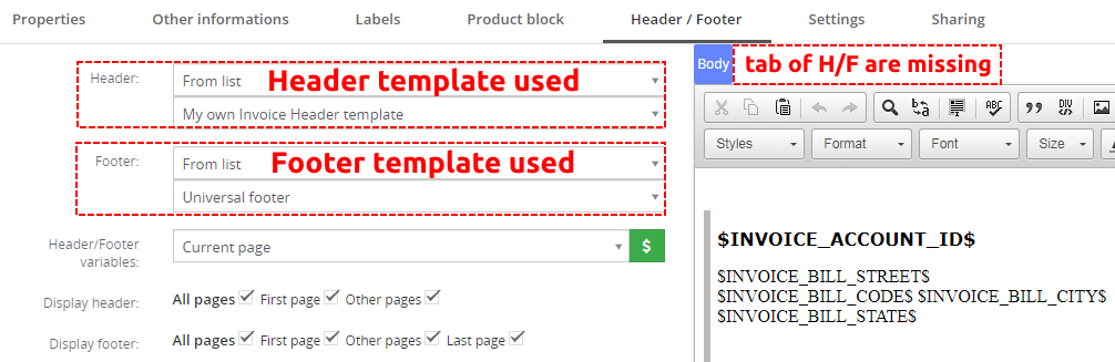 Header and Footer templates are used – PDF Maker Vtiger 7