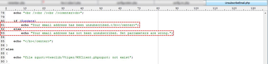 Edit sentences – Email Maker Vtiger 7