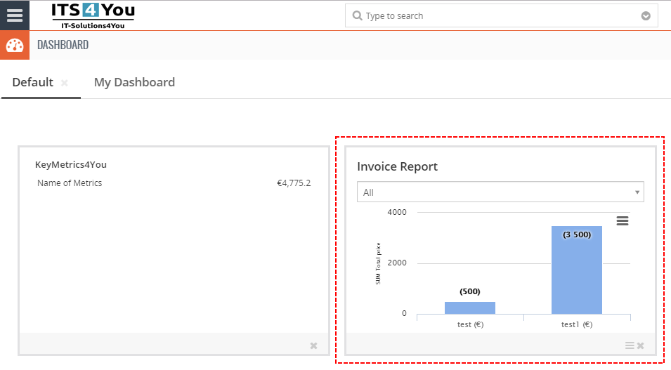 Add Widget on Dashboard - Reports 4 You Vtiger 7