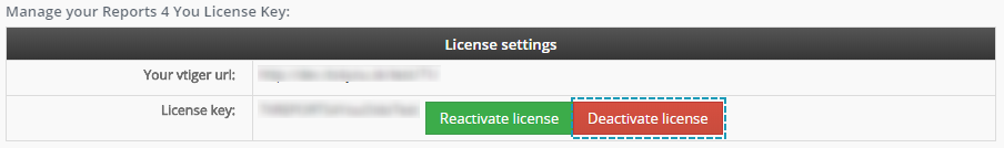 Deactivate license - Reports 4 You Vtiger 7