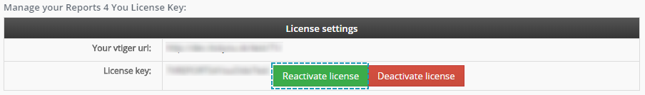 Reactivate license - Reports 4 You Vtiger 7