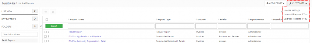 Settings - Reports 4 You Vtiger 7