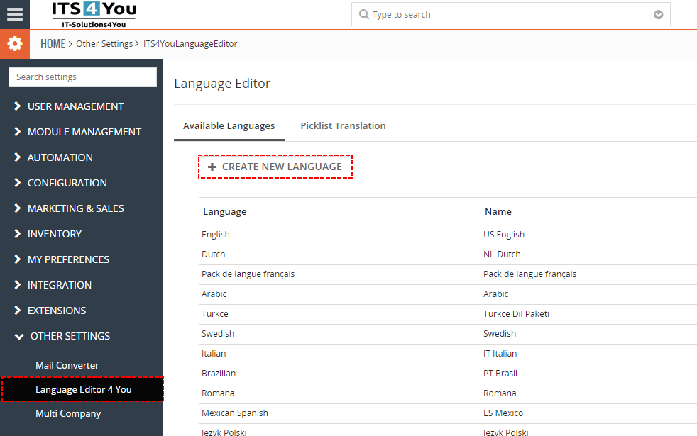 How to create new Language