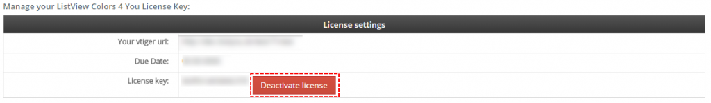 Deactivate license - ListView Colors 4 You Vtiger 7