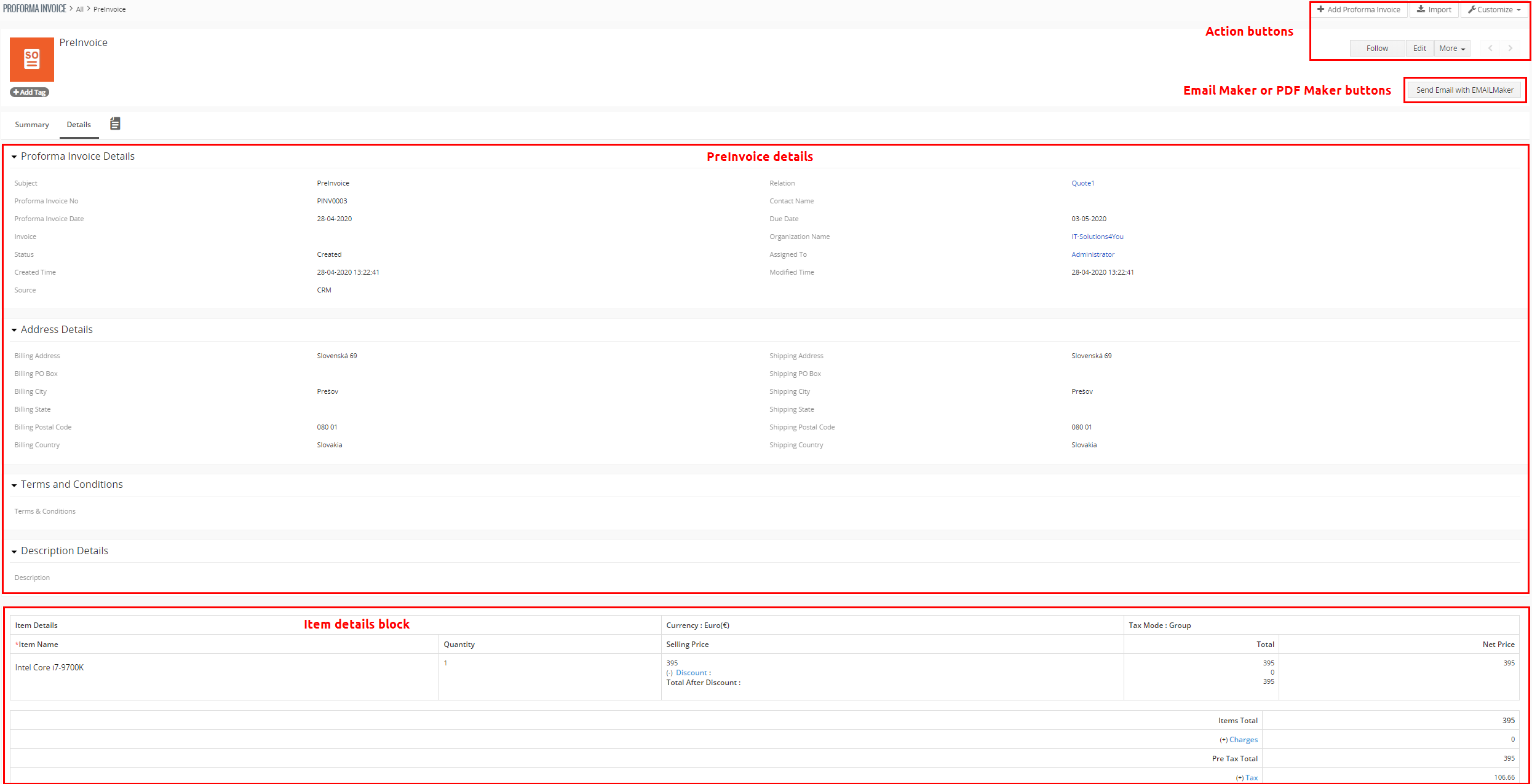 Vtiger CRM PreInvoice Extension Detail view