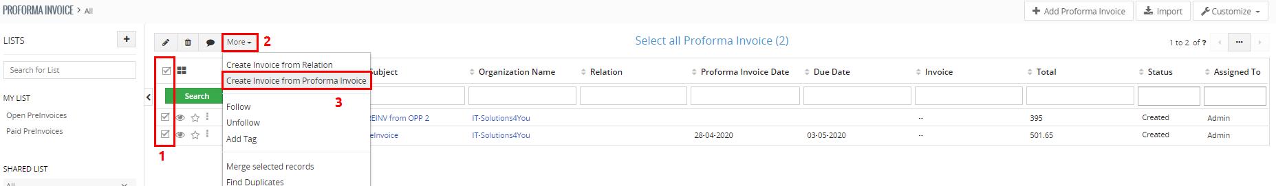 Createing Invoice from Proforma Invoice